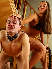 Amazingly-looking Mistress Humiliating Her Ill-behaved Slave Just On The Stairs